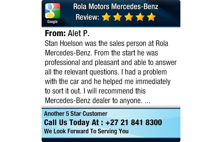 Stan Hoelson was the sales person at Rola Mercedes-Benz. From the start he was...