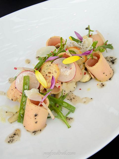 Joel Robuchon au Dome, Macau - Shaved foie gras with warm potato salad by myfoodtrail, via Flickr