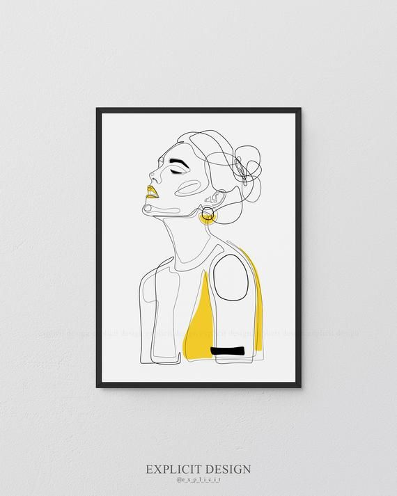 Printable Girl Profile Line Illustration Minimal Face Drawing In