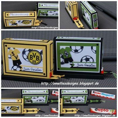 Stampin UP , Stanz- und Falzbrett , BVB , Borussia Mönchengladbach, Verpackung , Box , Schachtel , Duplospender , Kinderriegelspender , Fussball , Soccer