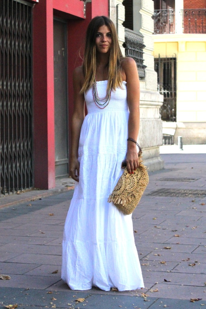 Barbecue Wedding Rehearsal Dinner Dress. Love her white maxi and straw clutch