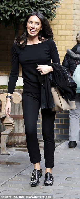 Going to a meeting? Christine Lampard looked smart and elegant as she stepped out beaming in an all-black ensemble in the London sunshine on Thursday