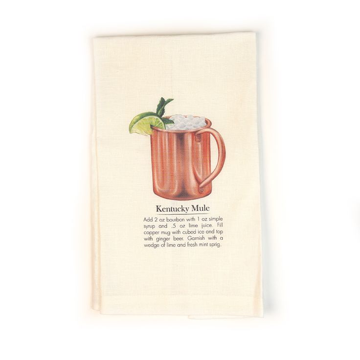 Awesome Bourbon Cocktail Tea Towels to complete every bourbon lover's kitchen or bar setting!  Each towel has the image of a classic bourbon cocktail followed by the recipe so you won't ever forget the ingredients to these most important beverages!  Tea Towels come in Mint Julep, Kentucky Mule, Bourbon Sour and Old Fashioned; all hand-drawn designs by ...