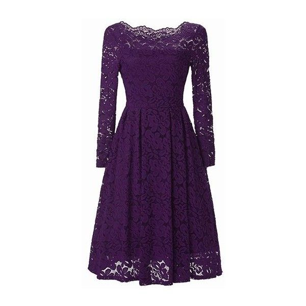 Rotita Scalloped Neckline Long Sleeve High Waist Purple Dress ($39) ❤ liked on Polyvore featuring dresses, purple, lace sleeve dress, boat neck dress, long sleeve knee length dresses, purple dress and print dresses