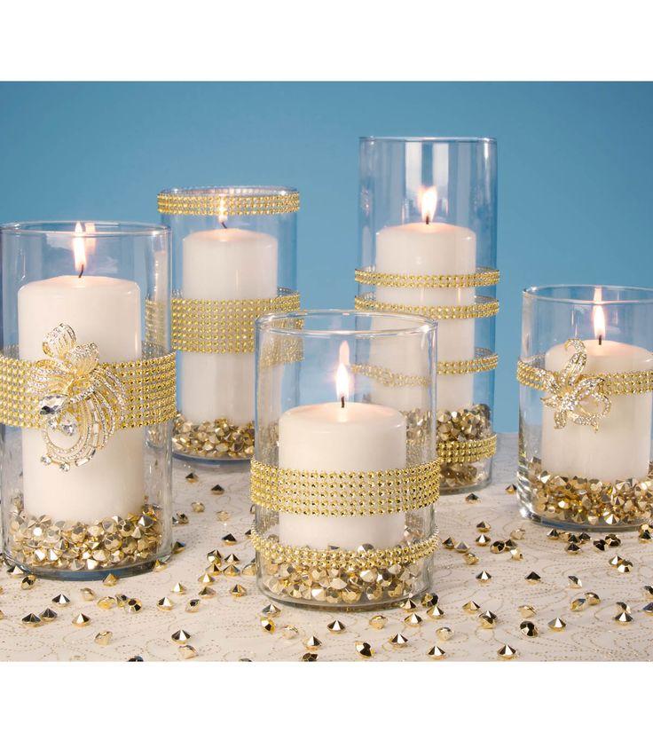silver would be better - Gold Wrapped Vases | Gold Votive Holders | Gold Wedding Vase | DIY Wedding Vase Instructions