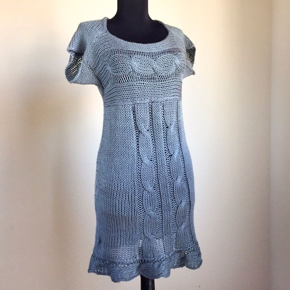 "Cable Knit Cap Sleeve Tunic Mini Dress Grey Blue Sheer cable knit cap sleeve sweater or sweater dress. Cabled bottom hem with a scalloped effect. 32"" long. Loose fitting on my  32-24-34 mannequin. Wear as a mini dress if you're petite or size XS-S. Maybe fit up to M as a top.  Cute with a nude dress slip or as a long top with a bandeau. Warm, soft, bouncy, and drapey. Halter neckline, flattering cap sleeves, and easy loose fit. Made of washable acrylic baby yarn. Color is like a slate blue…"