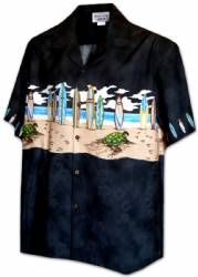 Boards on the Beach - Boys Hawaiian Aloha Shirt - Black