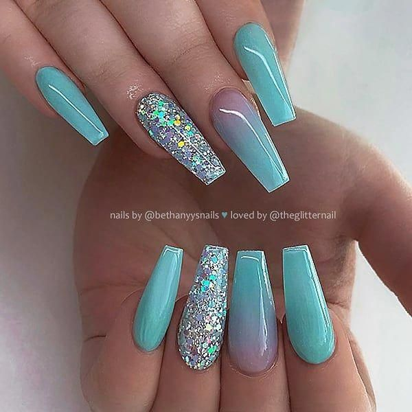 Seafoam Turquoise With Ombre And Glitter On Long Coffin Nails Nail Artis Turq In 2020 Turquoise Nails Acrylic Nails Coffin Glitter Turquoise Acrylic Nails