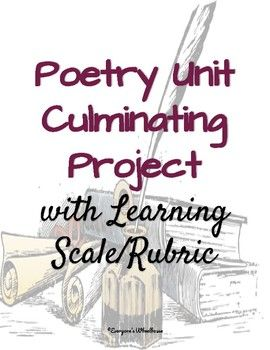 This culminating project for poetry includes a thorough project description, a project proposal template, and a learning scale/rubric with which to assess the project. Emphasizing depth of knowledge, this project fulfills many curricular needs through differentiation, student choice, and rigorous application of learning goals.