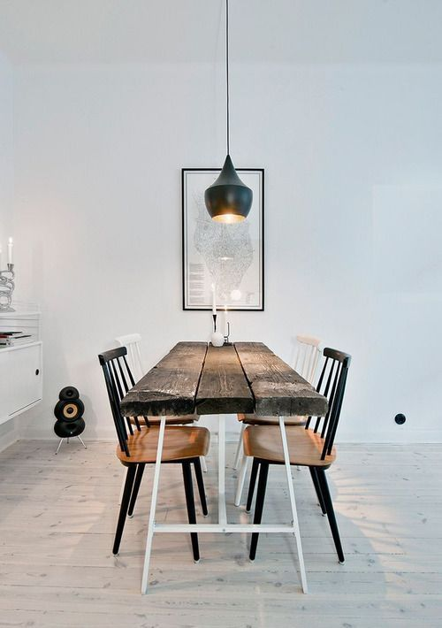 Rustic Slat Beam Table, White Washed Floorboards, and Eames Era Styling | Hipsters Houses