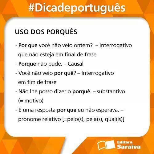 Uso dos porquês - Português brasileiro