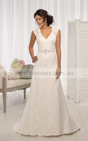 A-line V-neck Natural Cap Sleeves Floor-length Wedding Dresses wes0217