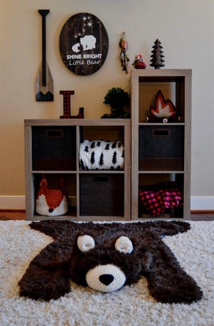 Kinderzimmer Teppich / große Größe Schokolade Minky Bär