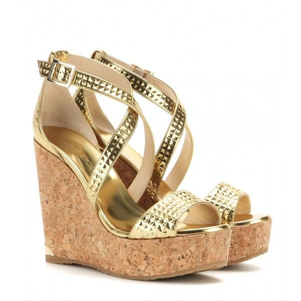 Jimmy Choo Portia Metallic Leather Wedge Sandals ($415) ❤ liked on Polyvore featuring shoes, sandals, scarpe, wedges, обувь, gold, gold metallic wedge sandals, jimmy choo, genuine leather shoes and wedge sandals