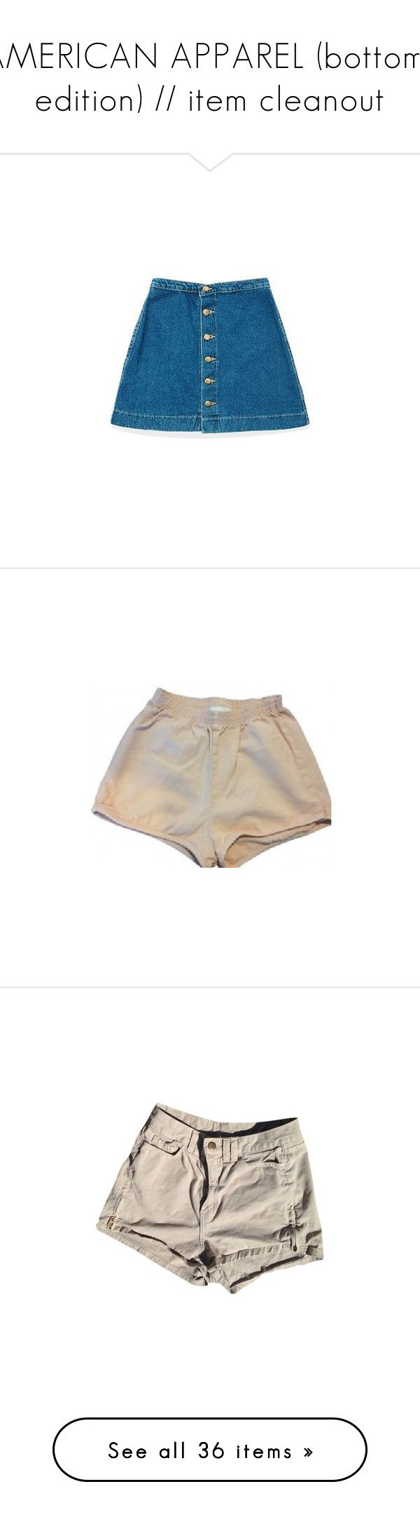 """""""AMERICAN APPAREL (bottoms edition) // item cleanout"""" by kphxn ❤ liked on Polyvore featuring kphxnCOLLECTS, skirts, shorts, summer shorts, american apparel shorts, stretch waist shorts, american apparel, elastic waist shorts, american high waisted shorts and high rise shorts"""
