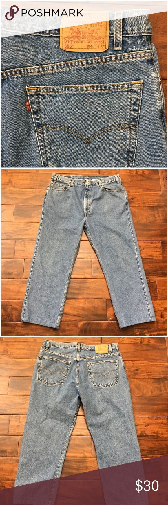 """Levi's 505 Regular Fit Straight Leg Jeans EUC Inseam has been shorted to 25 1/2"""".   Ask ALL questions before buying, sales are final. I try to describe the items I sell as accurately as I can but if I missed something, please LMK FIRST so we can resolve it before you leave < 5🌟rating.   🚫TRADES/OFFLINE TRANSACTIONS  🚫LOWBALLING (Please consider the 20% PM fee) ✅Use OFFER BUTTON please  🚭 & 🐶 Free home Levi's Jeans Straight"""