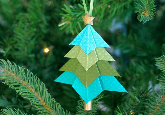 Weihnachtsbaum Ornament in Origami, Origami-Ornament, Weihnachtsbaum Ornament, Papier Ornament, Origami Sterne Ornament