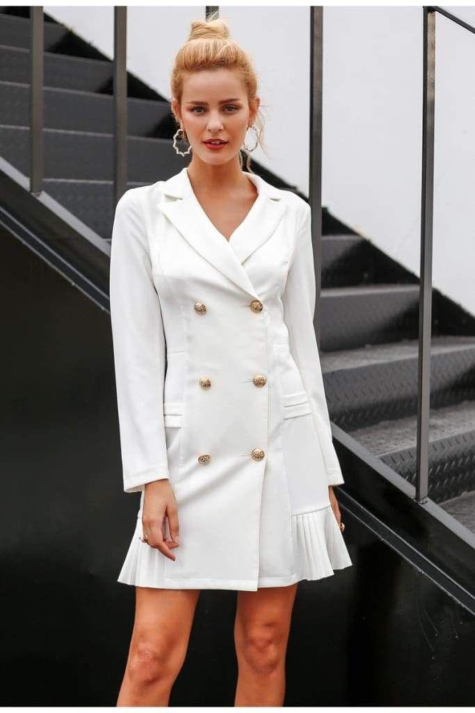 Elegant Ruffle Double Breasted Women White Dress Trending Accessories Biznes Moda Odezhda Platya