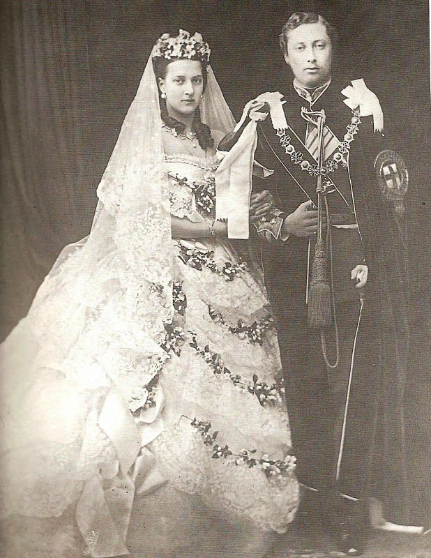 The future King Edward VII and Queen Alexandra on their wedding day.