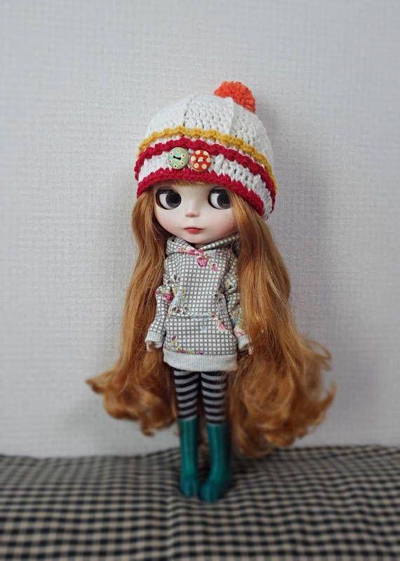 12 blythe doll hat ear flap crochet button