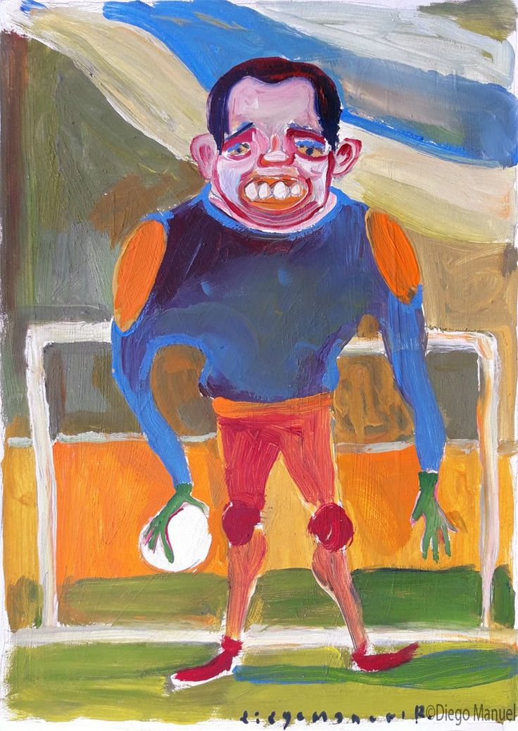 dibujo de un arquero de futbol , pinturas de Diego Manuel