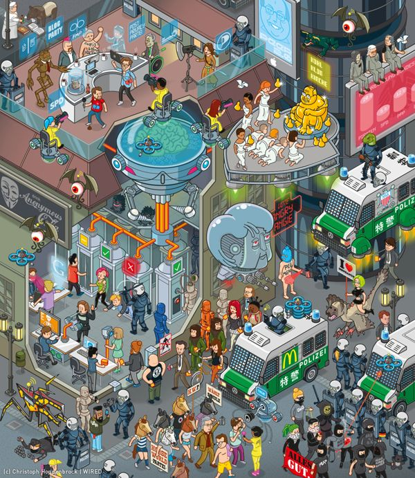 "WIRED Germany 09/2013 Illustration: ""Future Election"" by Christoph Hoppenbrock, via Behance"