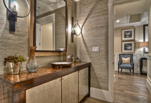 love the texture and sconces
