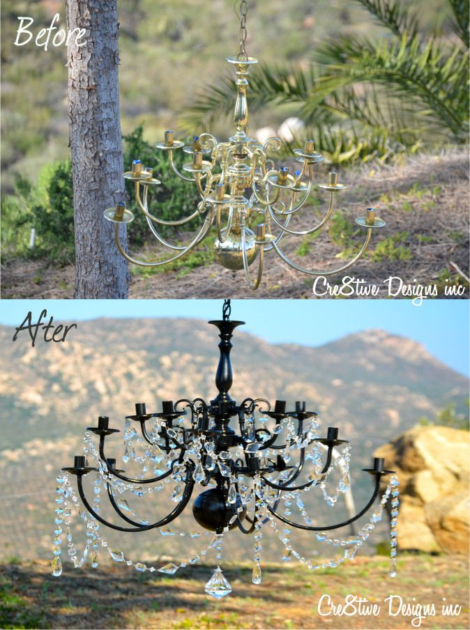 DIY tutorial - $15 brass chandelier transformed with black spray paint and crystals. Love this!