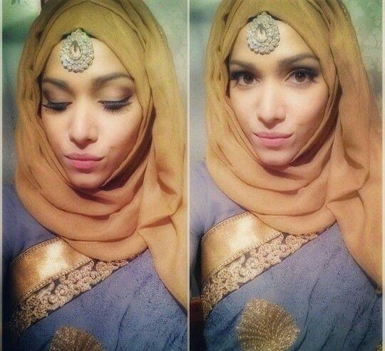 Hijab fashion. Tikkah. Neutral makeup. Lovely.