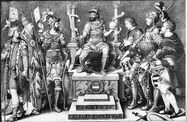 Charles V enthroned over his defeated enemies (from left to right): Sultan Suleiman, Pope Clement VII, Francis I, the Duke of Cleves, the Duke of Saxony and the Landgrave of Hesse.Giulio Clovio  (1498-1578) miniature by Simonzio Lupi (c.1556-c.1575) in Additional 33733, British Library