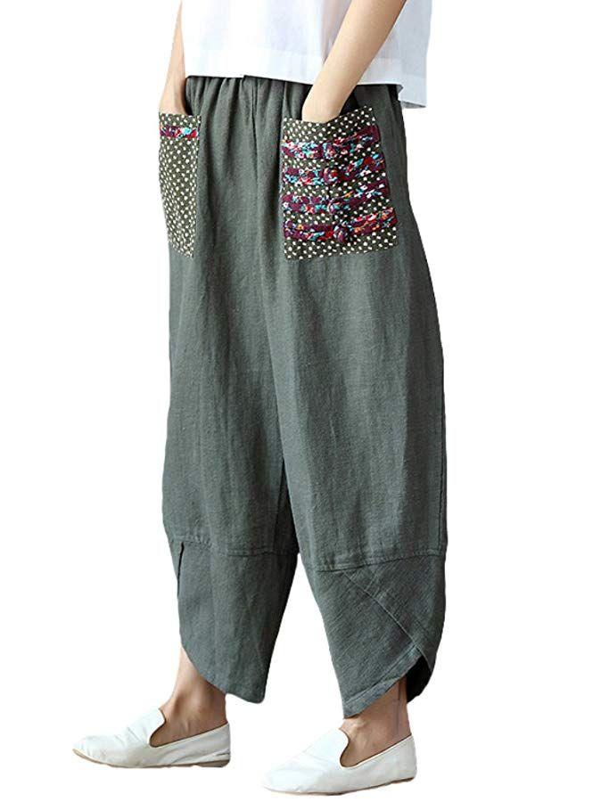 Womens Boho Hippie Wide Leg Palazzo Pants Trousers Summer Baggy Baggy Size 10-16
