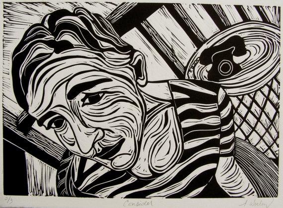"Lino Print Black and White Original Art Linoleum Print Hand Printed Relief Print ""Consider"". $20.00, via Etsy."
