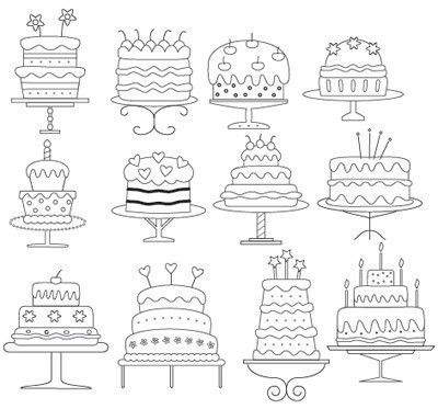 Cakes 2 Embrodiery Pattern by Theflossbox on Etsy. $3.40, via Etsy.