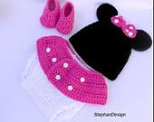 $23 READY Crochet Minnie Mouse outfit-Minnie Mouse crochet outfit-newborn,3-6mo,6-9mo,9-12 months,hat,diaper,booties-Girl Halloween Costumes