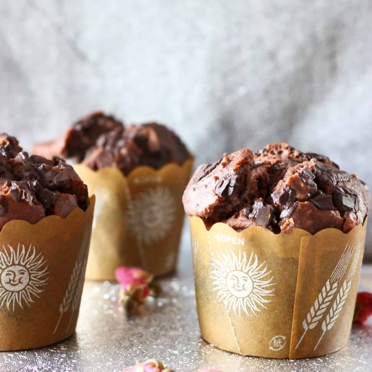 These Gluten-Free Vegan Chocolate Muffins are super chocolatey, healthy enough for breakfast and seriously satisfying! Refined sugar free optional.