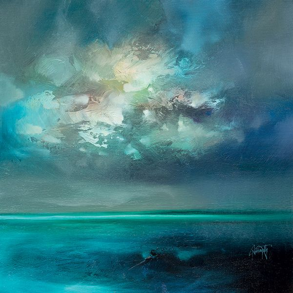 Scott Naismith uses vivid colours in a vigorous application to represent the fast changing light conditions of his native Scottish countryside. This print on canvas shows his work involved with cloud cover and its effect on light and colour through both its translucent and opaque properties.