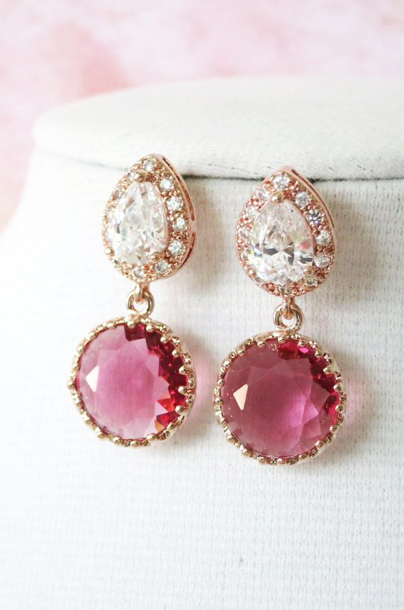 http://rubies.work/0224-ruby-rings/ Rose Gold Cubic Zirconia Teardrop Ruby Glass Earring - gifts for her, earrings, bridal bridesmaid brides ruby pink rose gold weddings