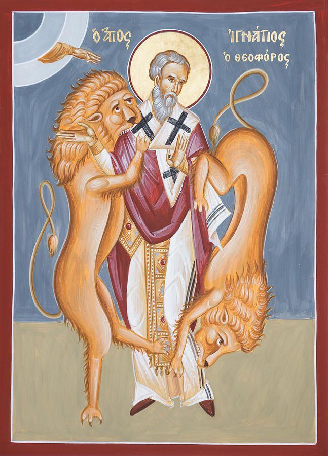 St Ignatius Of Antioch | http://saintnook.com/saints/ignatiusofantioch | St Ignatius Of Antioch Icon by Julia Bridget Hayes