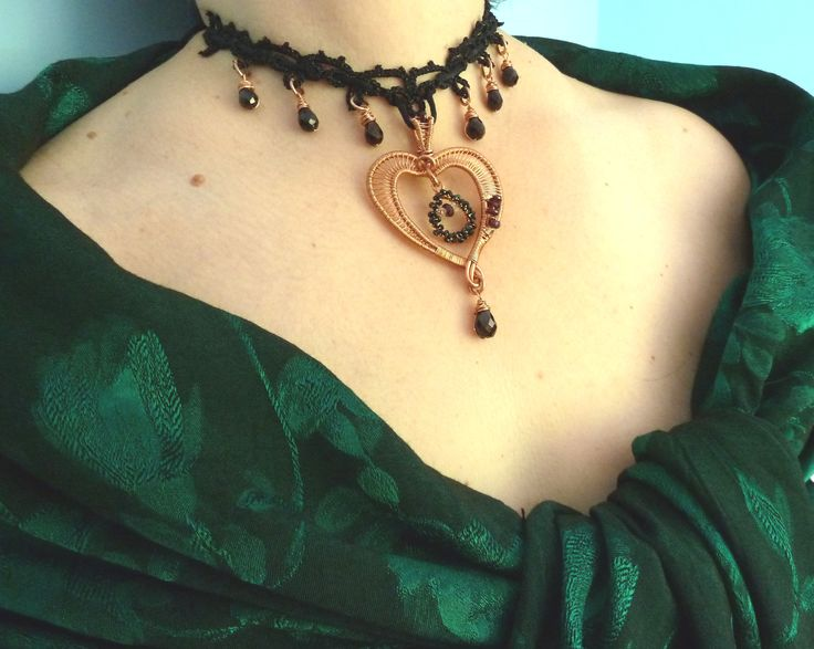 """My heart is broken""- Florina Ravariu  creation, Copper, Garnet, Spinel and Herkimer Diamond, tatted base, 100% handmade"
