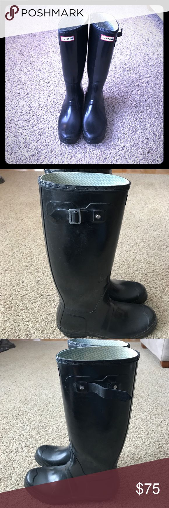 Hunter boots Black glossy hunter wellys. In great condition. The buckle on the left boot fell of so that's why they are so cheap. Hunter Boots Shoes Winter & Rain Boots