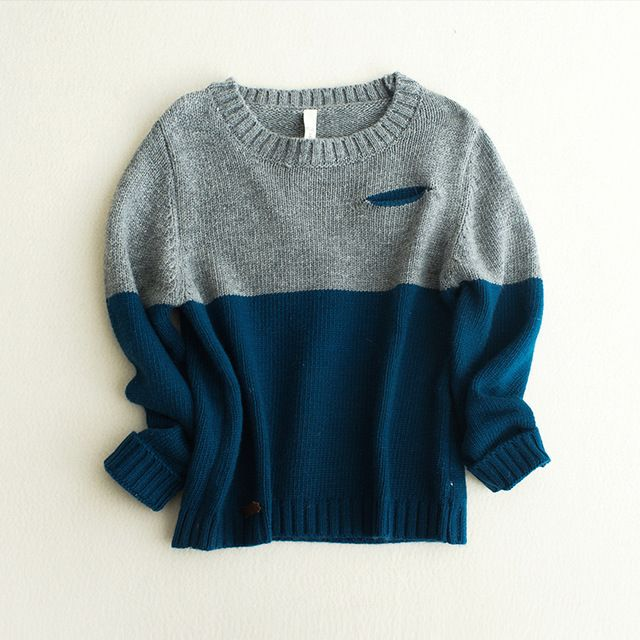 Baby autumn spring coat boy spliced panelled sweater children casual long sleeved sweaters knit children blue cardigan for boys