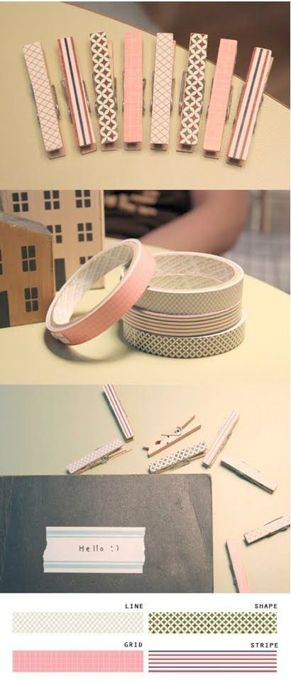 washi peg magnetic clips: Happy Tape, Tape Clothing, Masks Tape, Tape Clothespins, Decoration Tape, Washi Tape, Clothing Hangers, Clothing Pin, Crafts