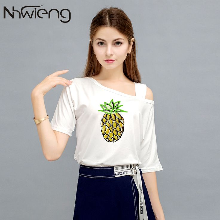 >> Click to Buy << 2017 Cute Sweet Women Blouse White Sexy Slash Neck Batwing Short Sleeve pineapple Fruit Print Shirts camisa Sexy Korean Tops #Affiliate