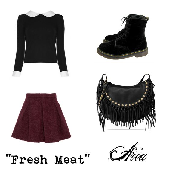 """A Get the Look for Aria's outfit in """"Fresh Meat""""! Aria has a flower patterned Doc Martens too. I'll make another GTL from tonight's episode xx - Black & White Contrast Peter Pan Collared Sweater - Black Doc Martens - Maroon Burgundy Skirt - Black Fringe Rhinestone Purse"""