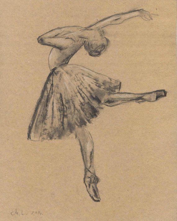 Ballerina charcoal  sketch. Sketch of a Ballerina. Ballet Dancer. Ballerina dancing drawing. Original. 8x10