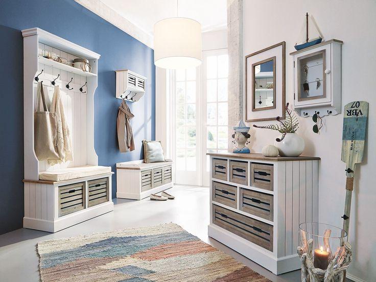 Kreative wohnideen diy : Wohnideen flur garderobe bank schuhbank schuhregal pinie weiß