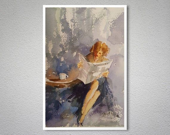 Reading Time Watercolor Aquarell Painting By Faruk Koksal
