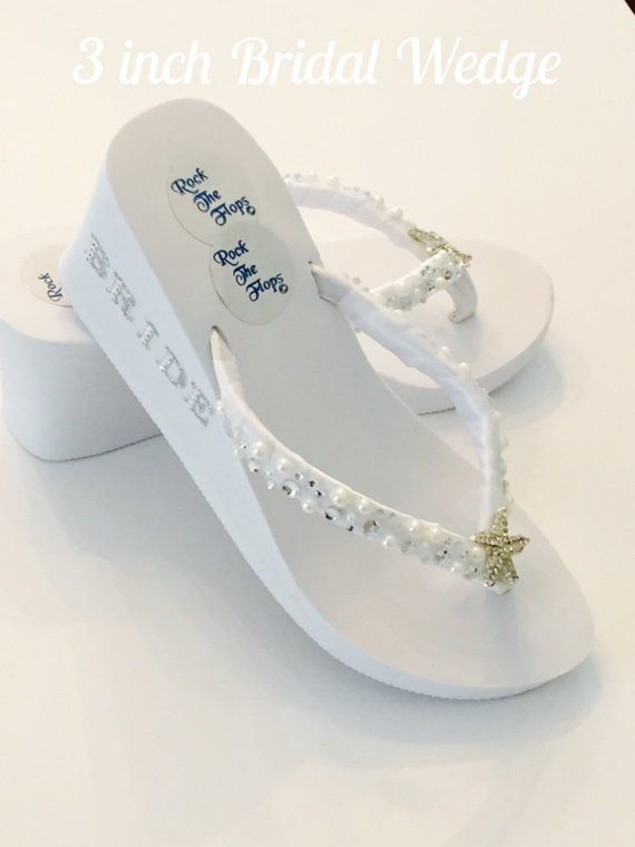 White Flip Flops With A Simple Bow Wedding Flip Flops Fancy Flip Flops Beaded Flip Flops