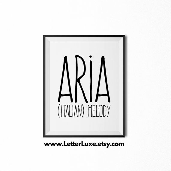 Aria Name Meaning Printable Nursery Art - Baby Shower Gift - Inspirational Typography Art - Digital Print - Nursery Decor - Wall Decor