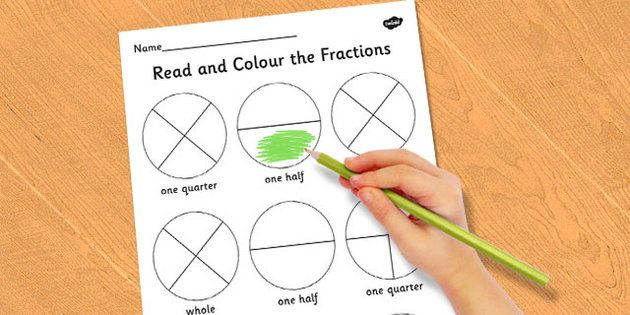 year 1 read and colour a fraction activity sheet fractions colours reading school maths. Black Bedroom Furniture Sets. Home Design Ideas